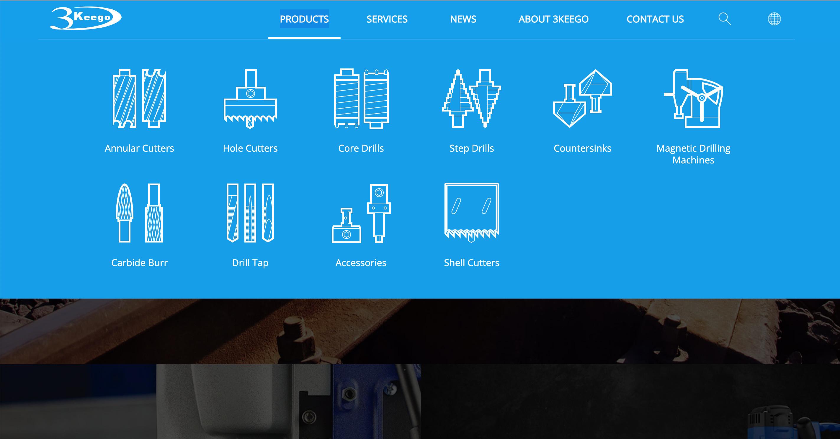 台中SEO網頁設計成功案例-目錄icon圖示|協正金屬3keego專業級鑽孔刀具製造廠