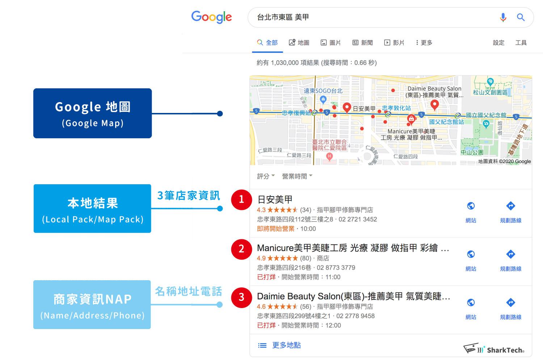 在地化搜尋Local Pack本地結果三筆示意圖-鯊客科技SEO優化網站設計公司