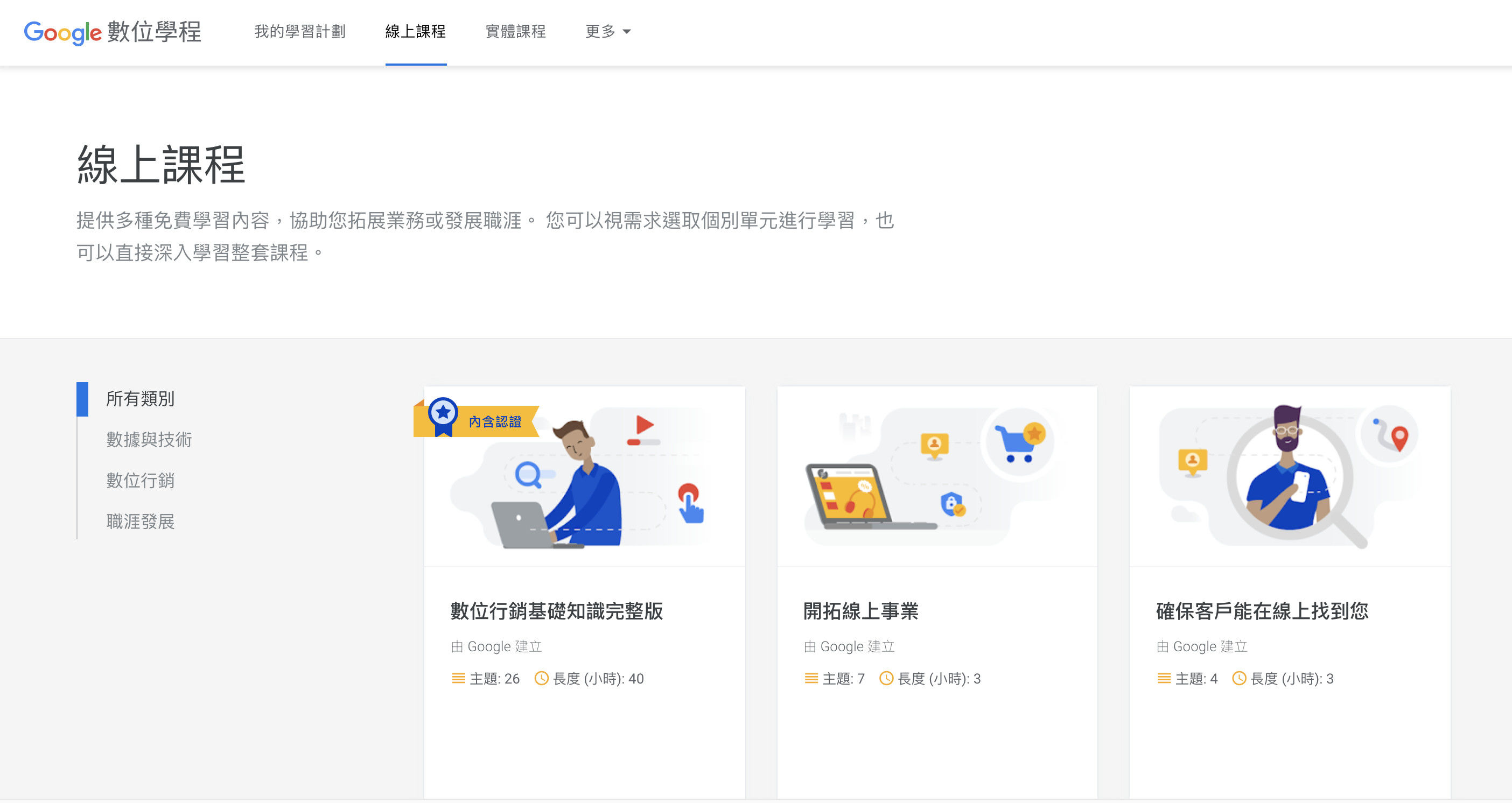 Google數位學程認證智慧台灣計畫線上課程-鯊客科技SEO網頁設計公司