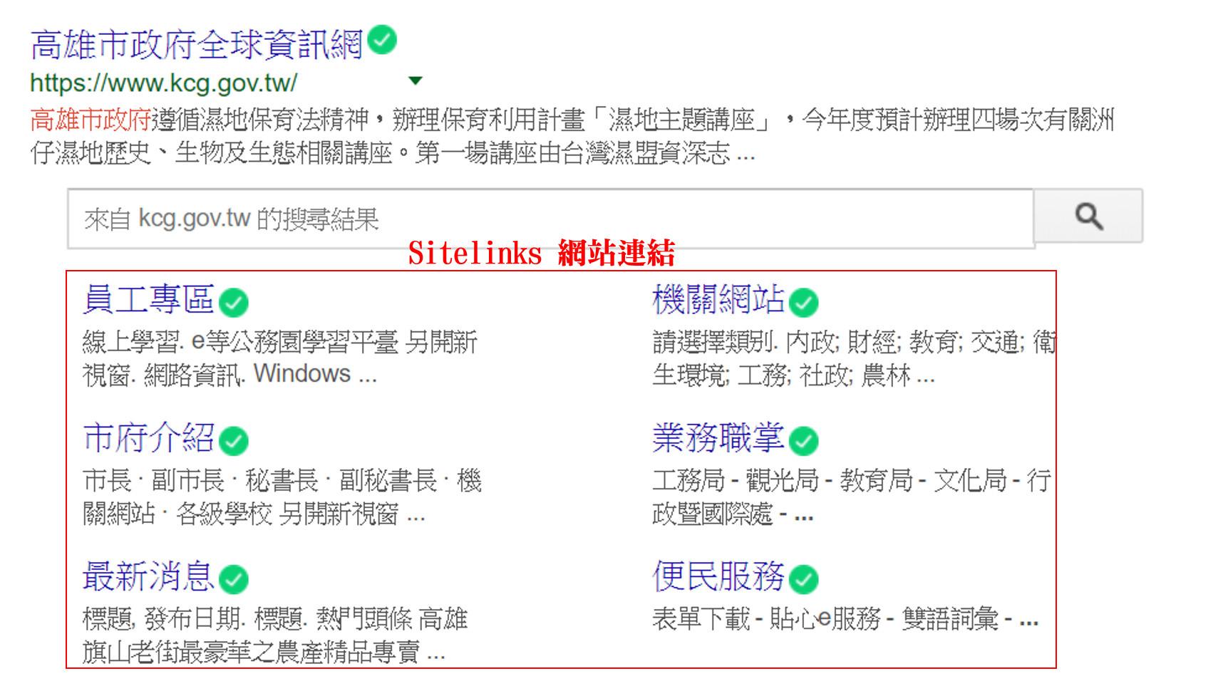 Sitelinks網站連結