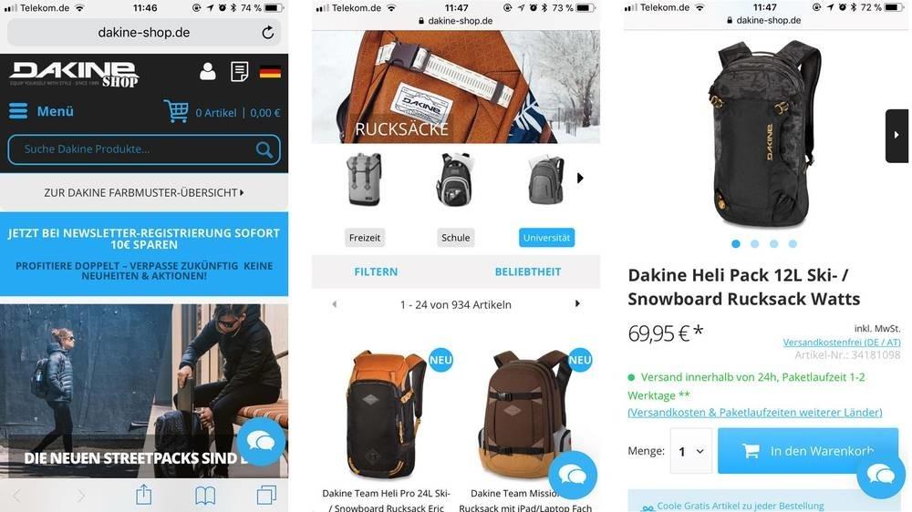Dakine改善行動網頁載入速度提升轉換率案例-鯊客科技SEO優化網站設計公司