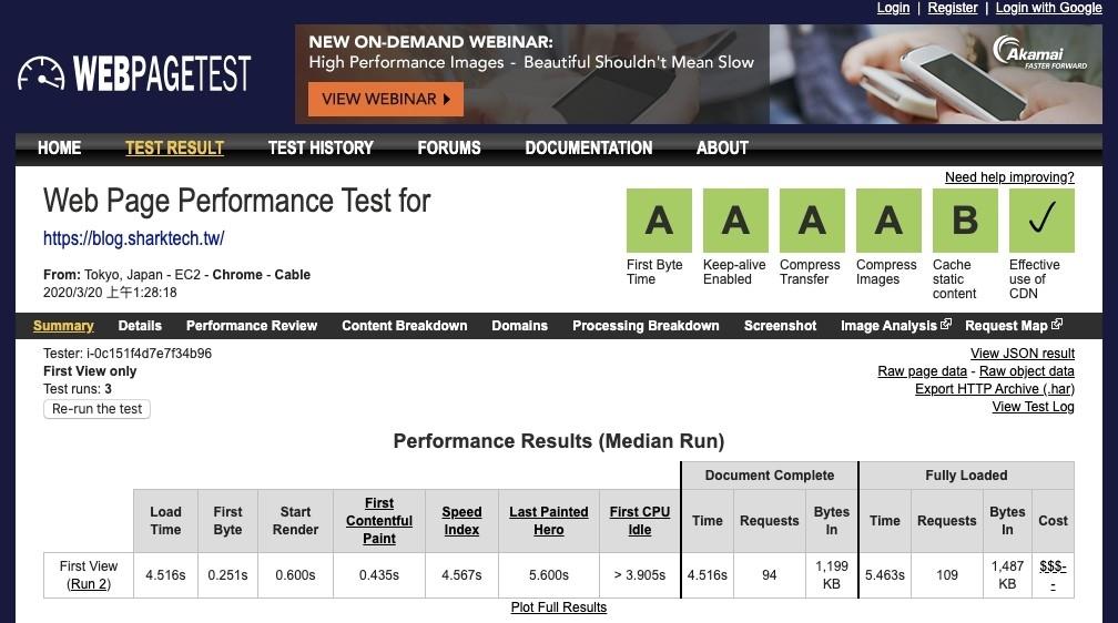 WebPagetest檢測結果-鯊客科技SEO優化網站設計公司