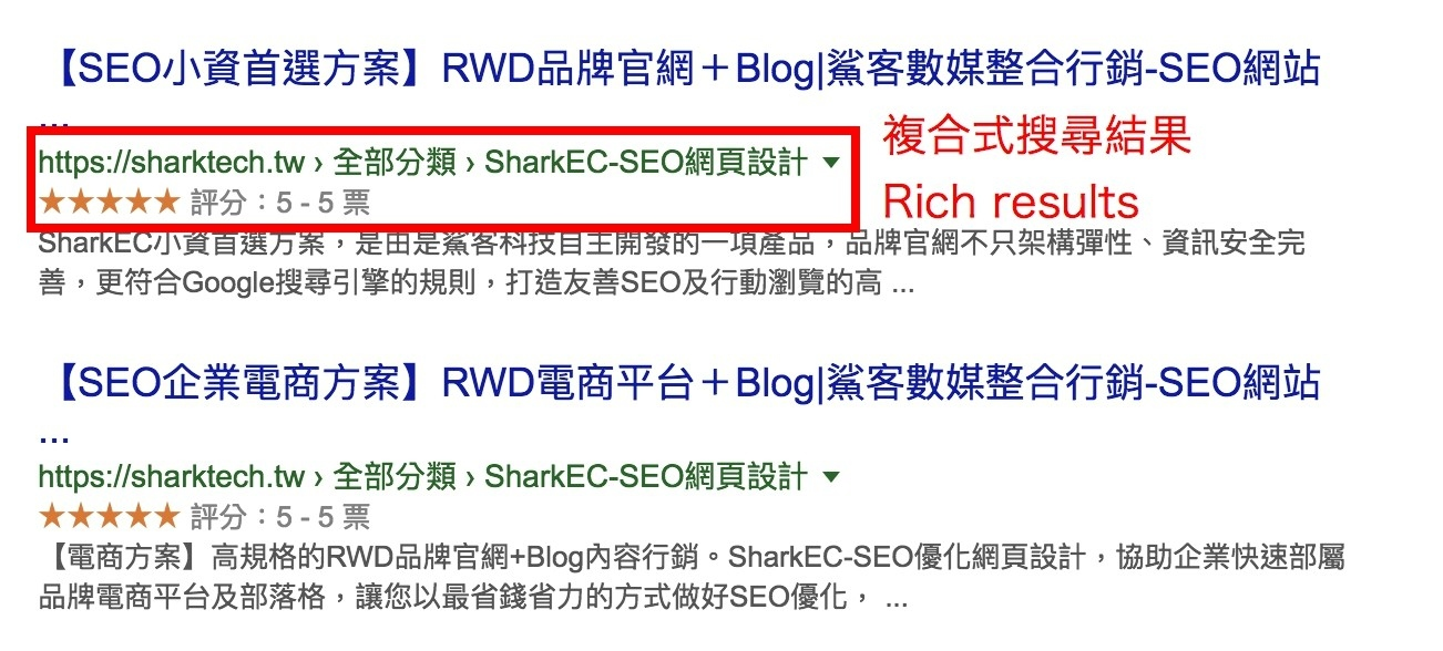 複合式搜尋結果Rich results結構化資料-鯊客科技